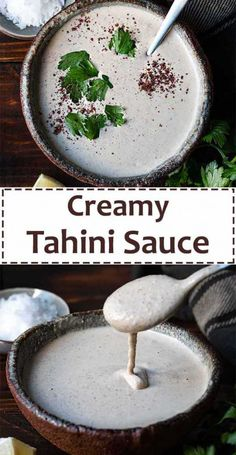 Make this healthy tahini sauce (aka lemon tahini dressing) to add creaminess and taste to your falafel, wraps and salads. It's so easy and delicious you're gonna love it! #tahini #sauce #lemon #sesame #mediterranean #garlic #falafel #garlic #easy #vegan Tahini Sauce, Lemon Tahini Dressing, Falafel, What To Cook, Vegan Vegetarian, Recipes, Stuffed Peppers, Cooking, Healthy