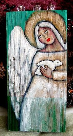 FOLK ART WHITE ANGEL
