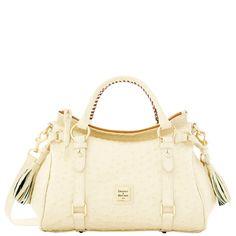 Ostrich small satchel in bone