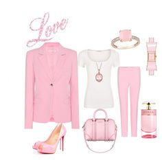 I love pink by Diva of Cake on Polyvore featuring polyvore fashion style Altuzarra Privé Allurez Kate Spade Prada Givenchy clothing
