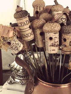 Wine Craft, Wine Cork Crafts, Wine Bottle Crafts, Crafts With Corks, Acorn Crafts, Fall Crafts, Crafts For Kids, Preschool Crafts, Wine Cork Ornaments
