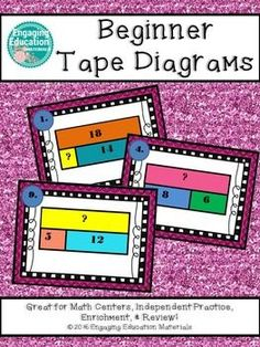 Students are introduced to the concept of tape diagrams (bar models) while reviewing addition and subtraction to 20. There is a total of 24 task cards. A student recording sheet and answer key is also included!