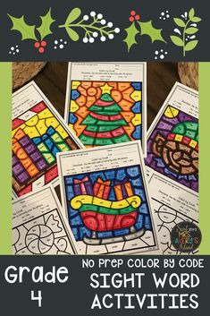 These no prep differentiated color by code sight word activities are the perfect answer to help your fourth grade students increase their fluency and reading comprehension skills during December.  These print and go printables are perfect for your literacy centers or morning work and guaranteed to keep your kinders begging for more!  #4thGrade #sightwords #literacycenterideas #fluency #reading #decembermorningwork #daily5 #frysightwords