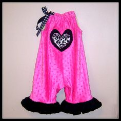 Pillowcase Romper Jumpsuit Baby Toddler Hot Pink Minky Dot Black Damask Clothing Outfit Overalls (SHIRLEY MATTHEWS, ETSY.COM)