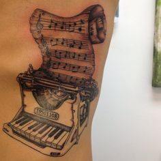 Music Notes With Nice Old Trend Piano Keys Tattoo Sheet Music Tattoo, Music Tattoos, Tatoos, Piano Tattoos, Piano Music Notes, Music Writing, Typewriter Tattoo, Scroll Tattoos, Old Pianos