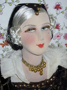 "Ext RARE Silk Face French c1920 Boudoir Doll Medieval Court Lady 34 ""Beauty 