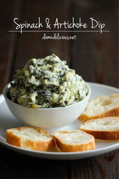 Slow Cooker Spinach and Artichoke Dip // super easy, just throw all ingredients in the crock pot           Save and organize favourites on your iPhone or iPad with /recipetin/ – without typing them in! Find out more here: http://www.recipetinapp.com #recipes #appetizer