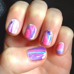 Water marbeled nails. Such a cute spring look (: