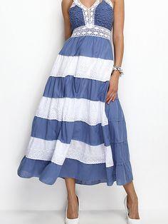 Платье сине-белое с полосками - Sense 2327396