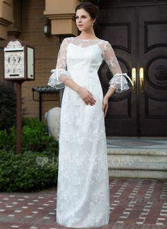 Wedding Dresses - $188.99 - Sheath/Column Scoop Neck Floor-Length Satin Lace Wedding Dress With Bow(s) (017026207) http://jjshouse.com/Sheath-Column-Scoop-Neck-Floor-Length-Satin-Lace-Wedding-Dress-With-Bow-S-017026207-g26207