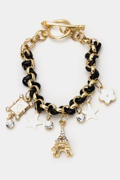 EIFFEL TOWER PARIS THEMED BRACELET  - my fave place in the world that I want to visit one day. I want this!! can someone tell my husband for me?? lol