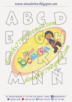 Miss Dorita: Abecedario Chico2 Alphabet Art, Handwritten Letters, Letter Templates, Letters And Numbers, Mandala Art, 3rd Birthday, Stencils, Fonts, Monogram