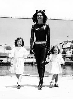 Lee Meriwether with her daughter on the set of film Batman [1966]