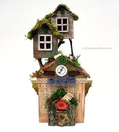 The Fairy Fort  Mixed Media Paper Playhouse for by PixieHillStudio (Art & Collectibles, Dolls & Miniatures, Dioramas, miniature house, fairy house, faerie, fairy, tree house, paper craft, mixed media, whimsical, altered art, magic treehouse, enchanting, Fort, cottage)