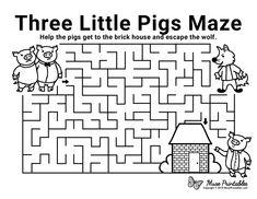 Free Printable Three Little Pigs Maze 3 Little Pigs Activities, Moon Activities, Fairy Tale Activities, Maze Worksheet, Fun Worksheets, Mazes For Kids Printable, Free Printable, Three Little Pigs Story, Maze Book