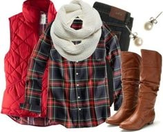 Puff vest & Plaid makes a great holiday look! #comfortablefortheholidays
