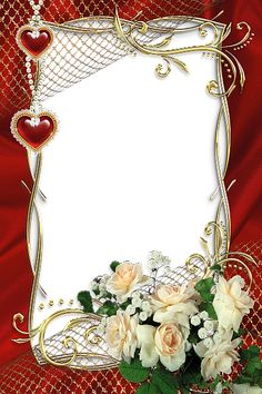 Beautiful Red Transparent Frame with White Roses.