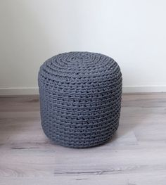 recycled cotton yarn - hand-crocheted pouf