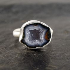 Light Blue Geode Ring in Sterling Silver by anatomi on Etsy, $118.00