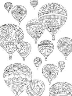coloring hot air balloon - Sök på Google
