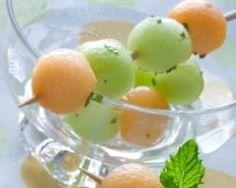 Brochettes de concombres minceur au melon