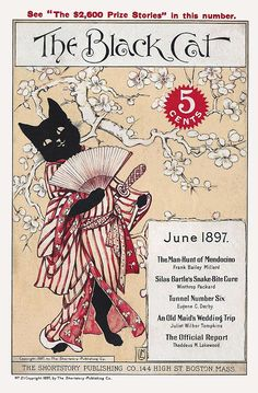 "taishou-kun: "" Japanesque! The Black Cat short stories magazine cover - US - June 1897 Source www.magazineart.org """