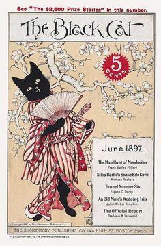 "taishou-kun: "" Japanesque! The Black Cat short stories magazine cover - US - June 1897 Source www.magazineart.org """