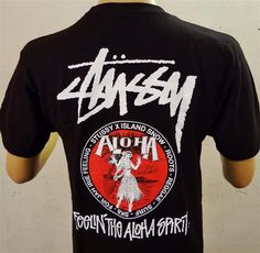 Men's Limited Edition Premium Tee Stussy x Island Snow Hawaii ISH- Aloha Sprit Collaboration; Color Options: Black and White. $30.00