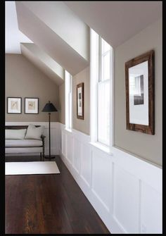 Paint Colour: Benjamin Moore Berkshire Beige / Flat @ DIY Home Design trim, wall color, stairsway Taupe Paint Colors, Hallway Paint Colors, Room Colors, House Colors, Beige Hallway Paint, Taupe Color, Pottery Barn Paint Colors, Living Room Paint Colors, Grey Beige Paint