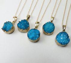 Blue Druzy Necklace Druzy Pendant Necklace Layering by lizix26