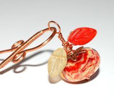 Orange & Gold Flower Pendant Leather Necklace by Jet of the Day ArtMadeByTammy #jod #jewelryonetsy