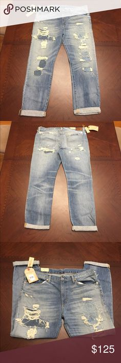 """Distressed Boyfriend Jeans by Denim and Supply These distressed jeans have a lot of detail of the worn ragged look on front and back. They look ripped, but intact so it doesn't unravel. There is a lot of stitching through these jeans.  The Fit is """"boyfriend"""" style,  Size 31, inseam is 29"""" without the rolled cuff. They are NWT and by Denim and Supply Ralph Lauren. Denim & Supply Ralph Lauren Jeans Boyfriend"""