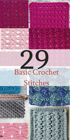 Basic Crochet Stitches If you want to learn to crochet, use this handy list of basic crochet stitches for beginner crochet.If you want to learn to crochet, use this handy list of basic crochet stitches for beginner crochet. Different Crochet Stitches, Easy Crochet Stitches, Crochet Simple, Crochet Stitches For Beginners, Crochet Diy, Crochet Basics, Learn To Crochet, Crochet Crafts, Crochet Ideas