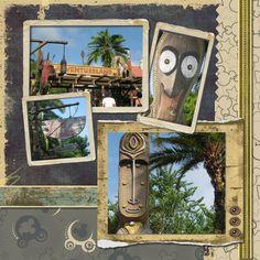 #disney #scrapbook page - magic kingdom adventureland scenery