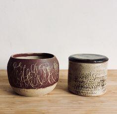 bowl / box / stoneware terra cotta slip ceramics / pottery