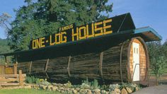 Hollowed out in 1946 from a single log, the Famous One-Log House was created from a redwood tree over 2100 years old! This section alone weighed 42 tons.