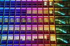 colours on the wall Colour Architecture, Unique Architecture, Facade Architecture, Building Windows, Architectural Lighting Design, A New York Minute, Office Images, Facade Lighting, Festival Lights