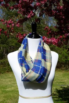 Blue and Yellow Plaid Infinity Scarf