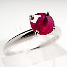 Genuine Natural Ruby Solitaire Engagement Ring Platinum