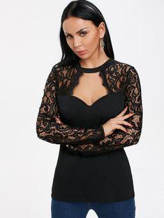 Cut Out Lace Panel Long Sleeve T-shirt - BLACK XL