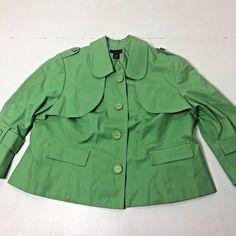 70c098a6c7a33 Women s Plus Size 3X Rafaella Solid Green 3 4 Sleeve Career Blazer Jacket  Top