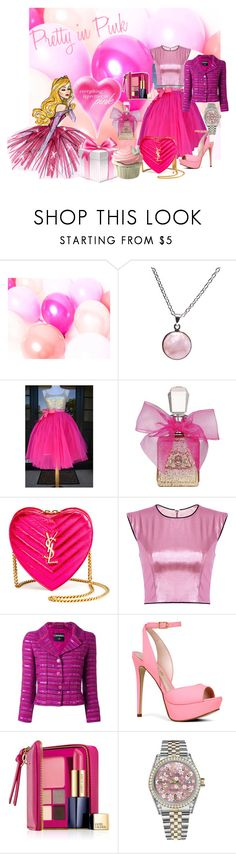"""""""Pretty in PINK"""" by velvy ❤ liked on Polyvore featuring Disney, Puck Wanderlust, Juicy Couture, Yves Saint Laurent, Chanel, ALDO, Estée Lauder, Rolex, polyversary and contestentry"""