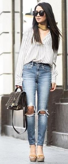#summer #popular #outfitideas | Striped Tunic + Denim