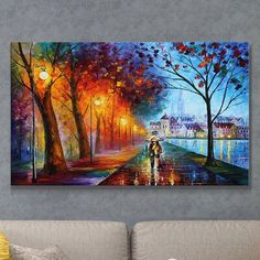 """""""City By the Lake"""" by Leonid Afremov Painting Print on Wrapped Canvas Paris Painting, Lake Painting, Painting Prints, Popular Paintings, Leonid Afremov Paintings, Acrylic Art, Surreal Art, Tree Art, Art Reproductions"""