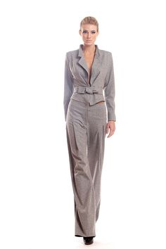 Light gray wool blend stretch tweed pants suit by tsyndyma on Etsy, $550.00