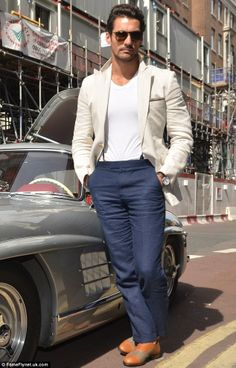 Stylish: David Gandy cut a dashing figure when he stepped out at the Tiger of Sweden show