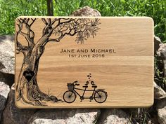 Personalized Cutting Board, Wedding gift for couple, Custom Wedding Gift, Wedding, Cutting Board,Anniversary Gift, Tandem Bike, Love Tree