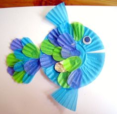 6 Crafts for Celebrating the Color Blue: Cupcake Liner Fish