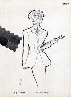 Labbey (Textile) 1947 Back Moreau & Cie, Suit Fashion Illustration, René Gruau