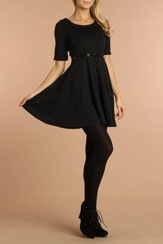 Roseberg Belted Dress In Black (I am happy that the darker stockings are back as I always loved them)
